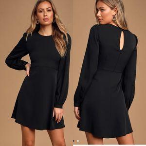 Lulu's Follow Me Black Fit and Flare Mini Dress XS